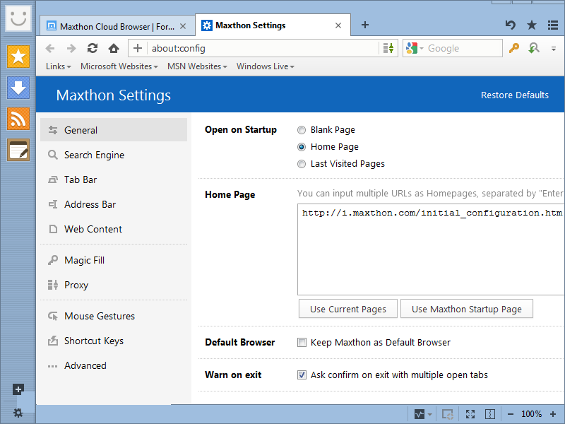Maxthon Cloud Browser windows