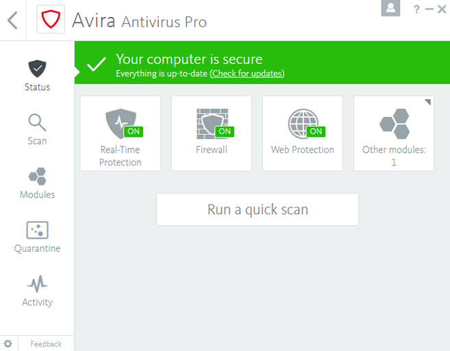 Avira Antivirus Pro windows