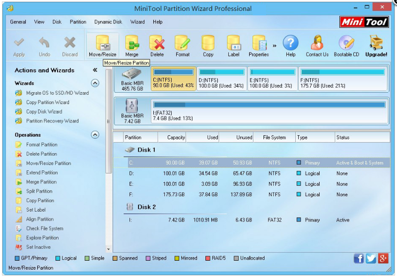 MiniTool Partition Wizard Pro windows