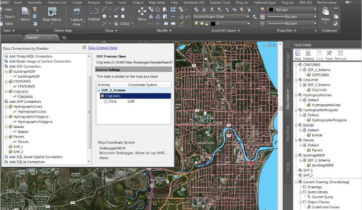 AutoCAD Map 3D windows