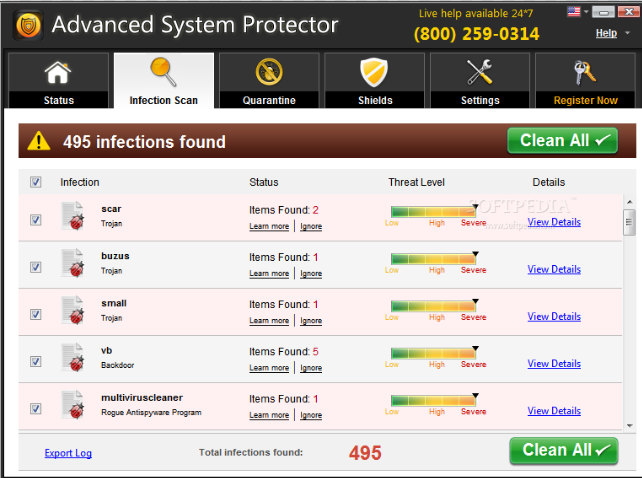 Advanced System Protector windows