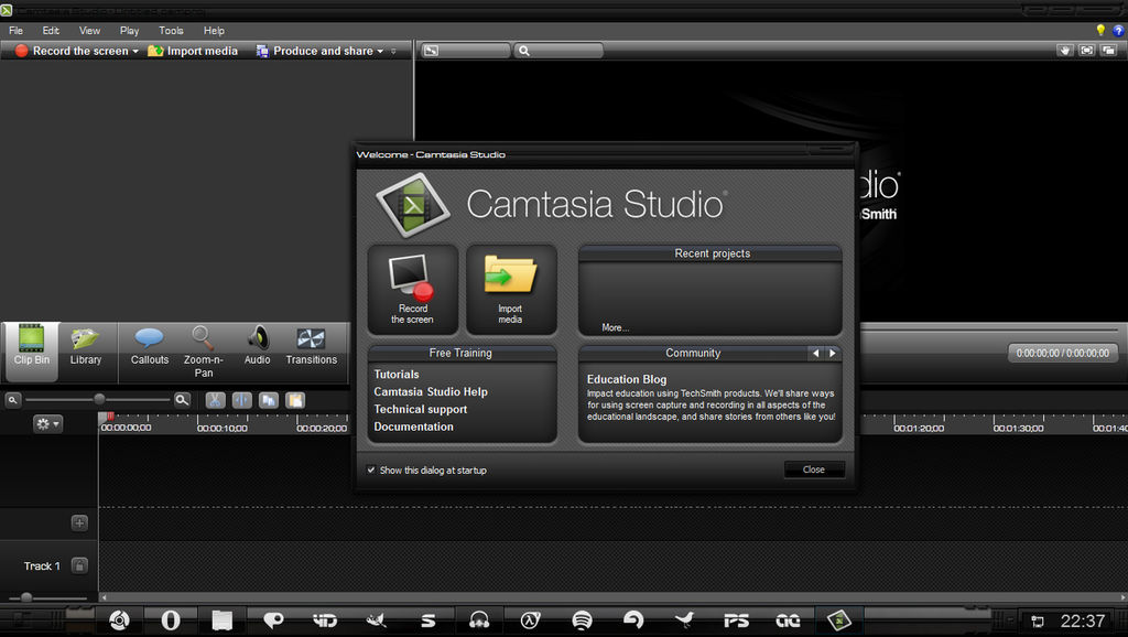Camtasia Studio windows