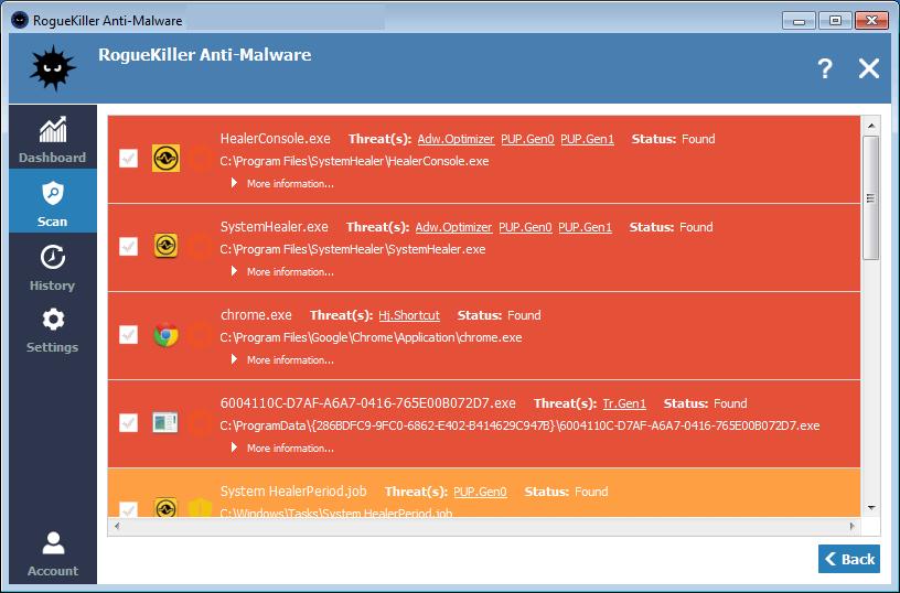 RogueKiller Anti-Malware windows