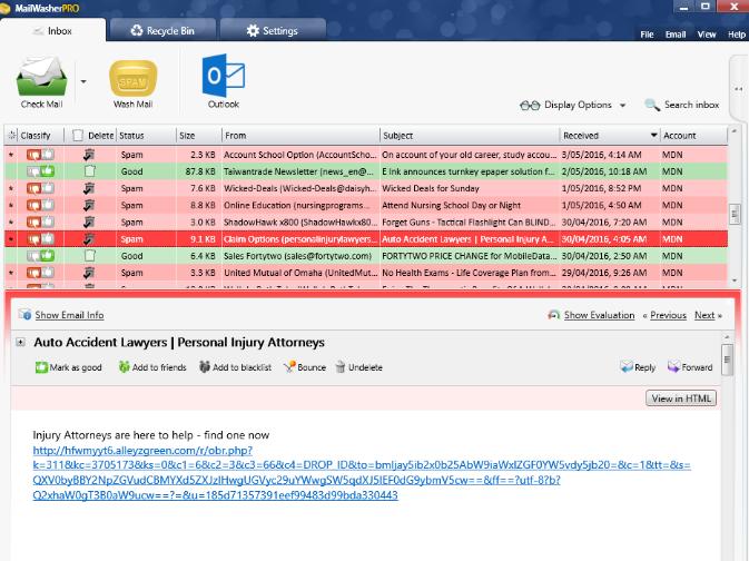 MailWasher Pro windows
