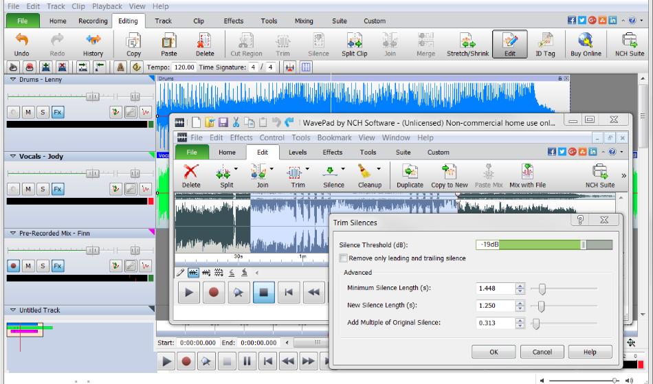 MixPad windows