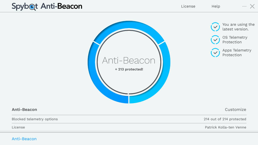 Spybot Anti-Beacon windows