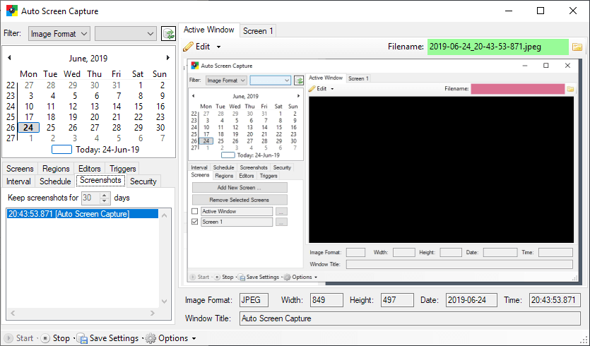Auto Screen Capture window